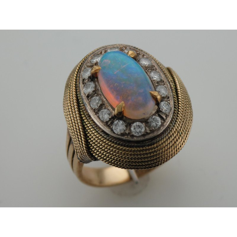 Antique, Estate & Consignment Opal & Diamond Swirl Ring