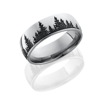 Cobalt Chrome Engraved Tree Band