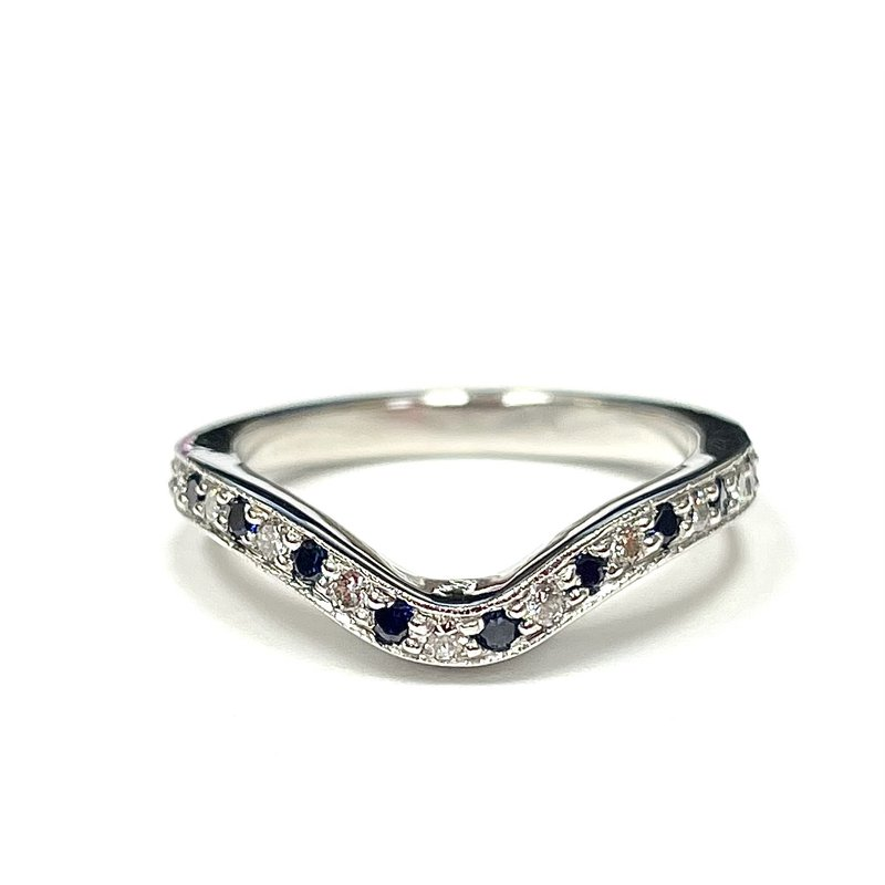 Antique, Estate & Consignment Diamond & Sapphire Curved Band
