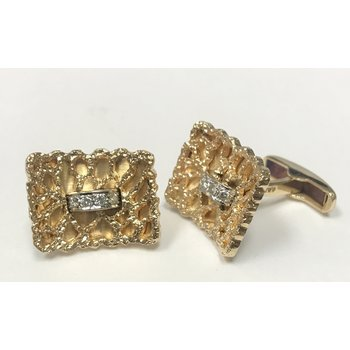 14k Gold & Diamond Cuff Links
