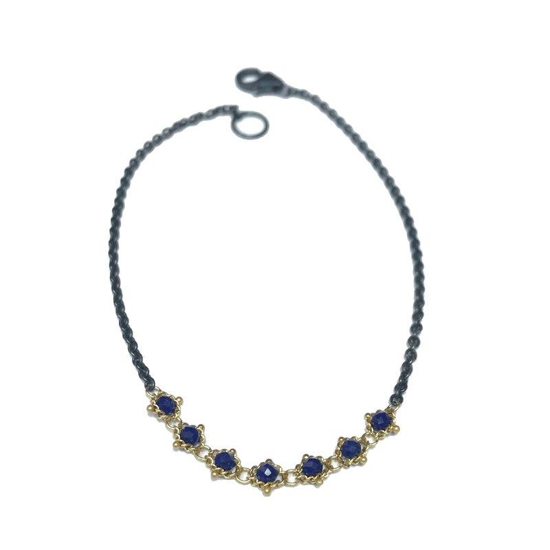 Amali Textile Lapis Station Bracelet