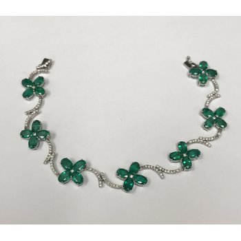 Emerald & Diamond Floral Bracelet
