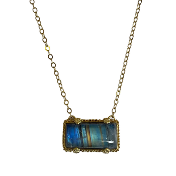 Rainbow Moonstone Rectangular Necklace