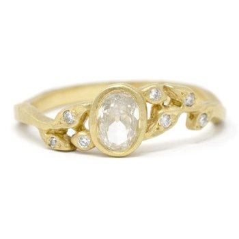 Dainty Vine Oval Diamond Leaf Ring