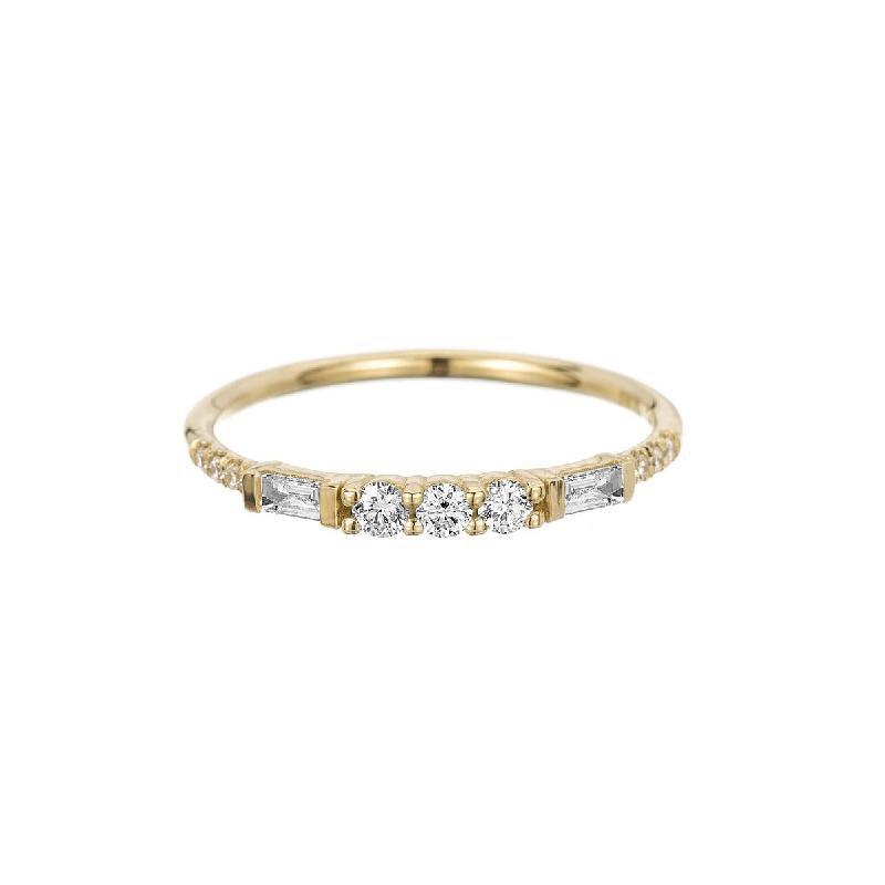 Jennie Kwon 3 Round Diamond Baguette Equilibrium Band