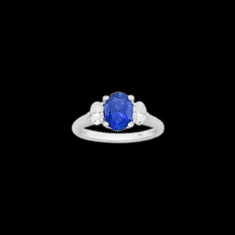 Spark Creations Sapphire & Diamond Three-Stone Ring