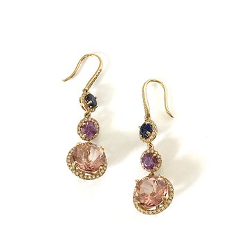 Morganite, Sapphire & Diamond Dangle Earrings