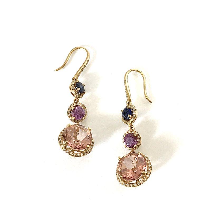 Antique, Estate & Consignment Morganite, Sapphire & Diamond Dangle Earrings