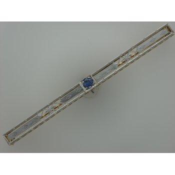 Filigree Synthetic Sapphire Bar Pin