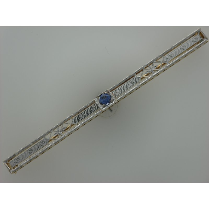 Antique, Estate & Consignment Filigree Synthetic Sapphire Bar Pin