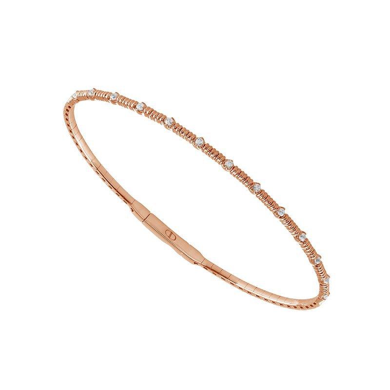 IDD Jewelry 14k Rose Flexible Diamond Station Bracelet