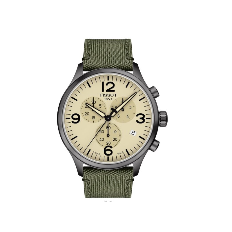 Tissot Chrono XL Tan Dial Green Strap