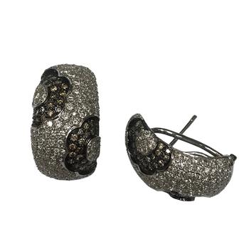 Champagne Diamond Flower Huggie Earrings