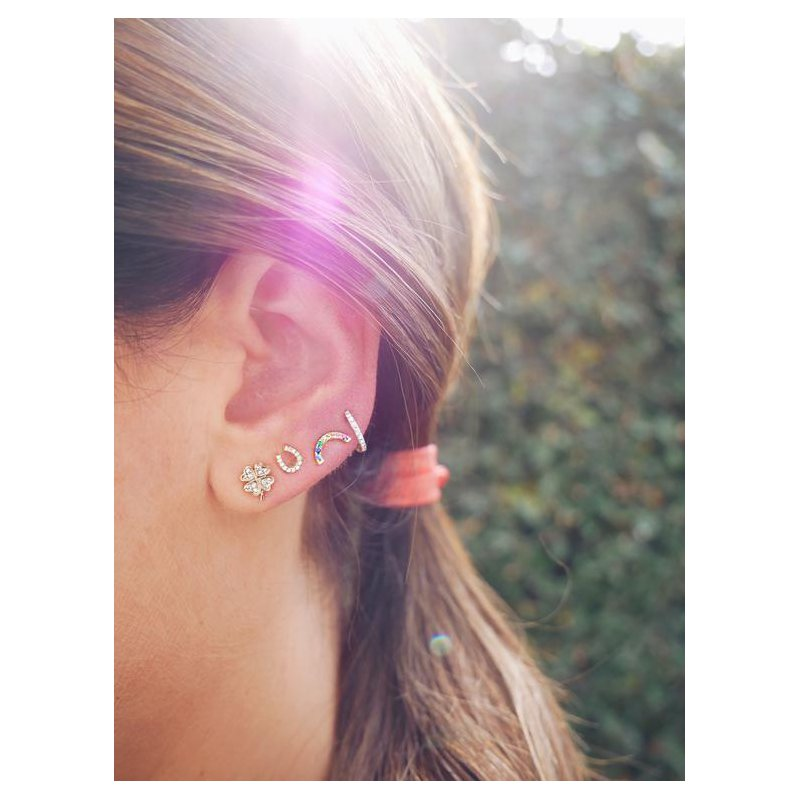 EF Collection Diamond Rainbow Stud Earring