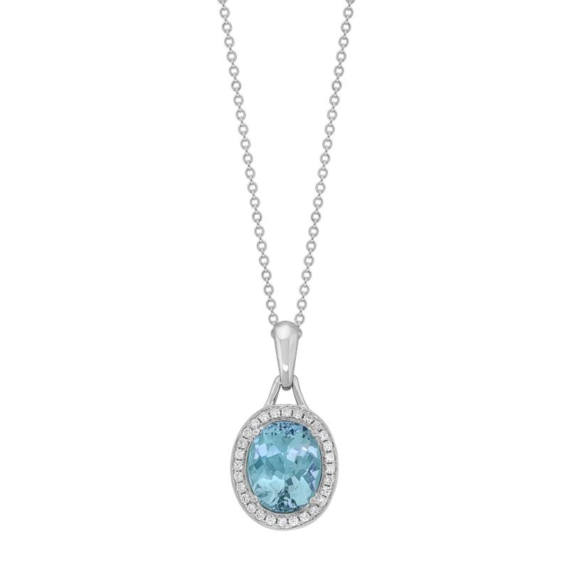 Spark Creations Aquamarine & Diamond Necklace