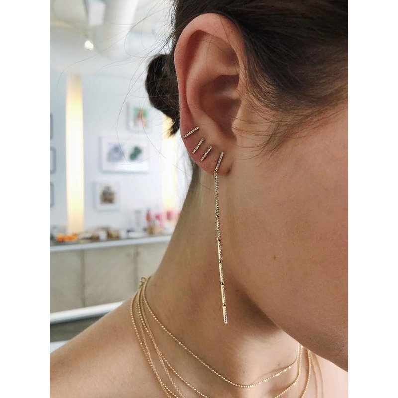 EF Collection Diamond Bar Stud Earring