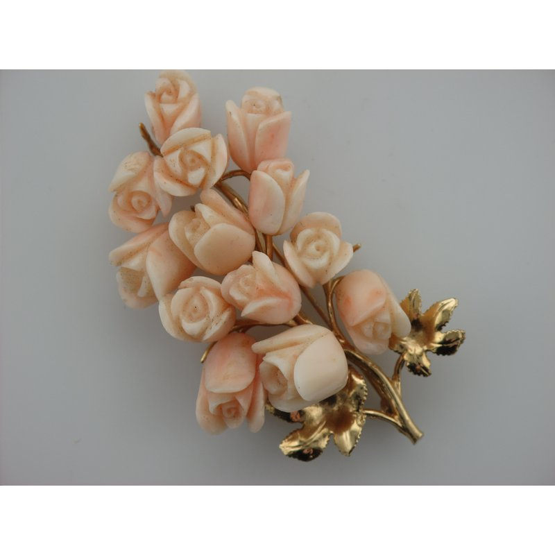 Antique, Estate & Consignment Floral Coral Pin