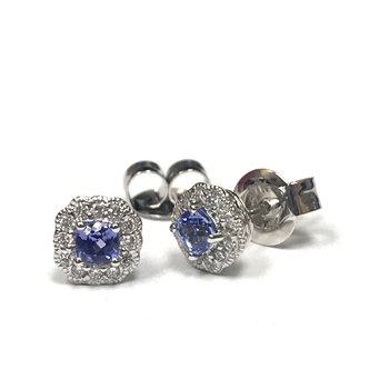 Tanzanite & Diamond Halo Earrings