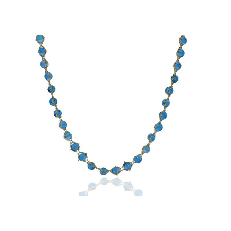 Amali Blue Topaz Textile Necklace