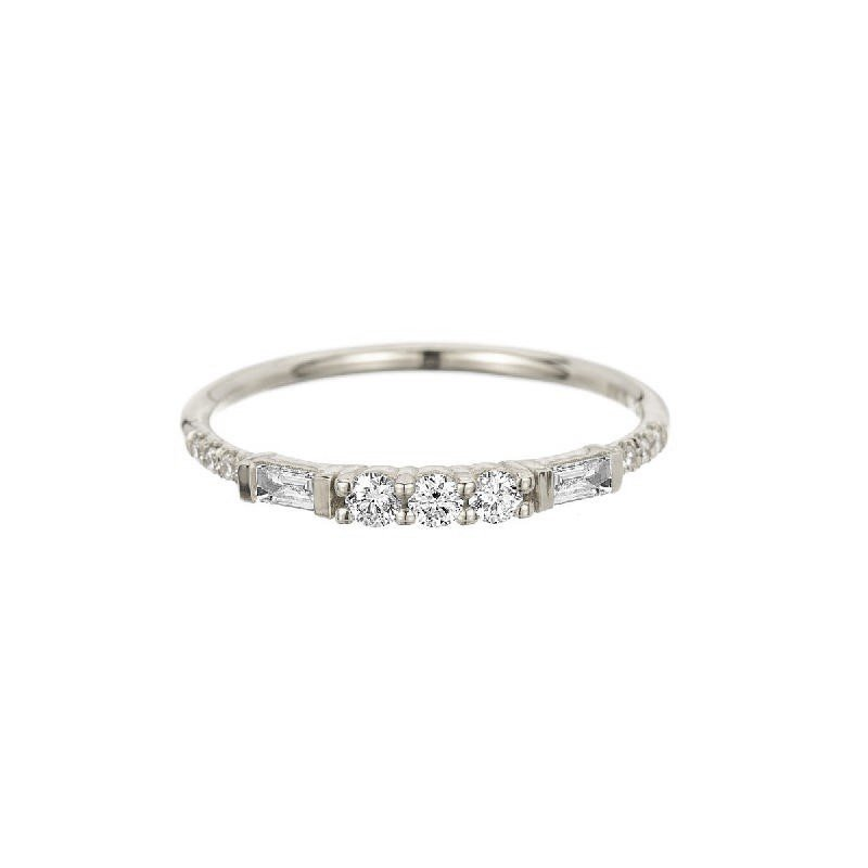 Jennie Kwon 3 Round Diamond Baguette Equilibrium Band - White Gold
