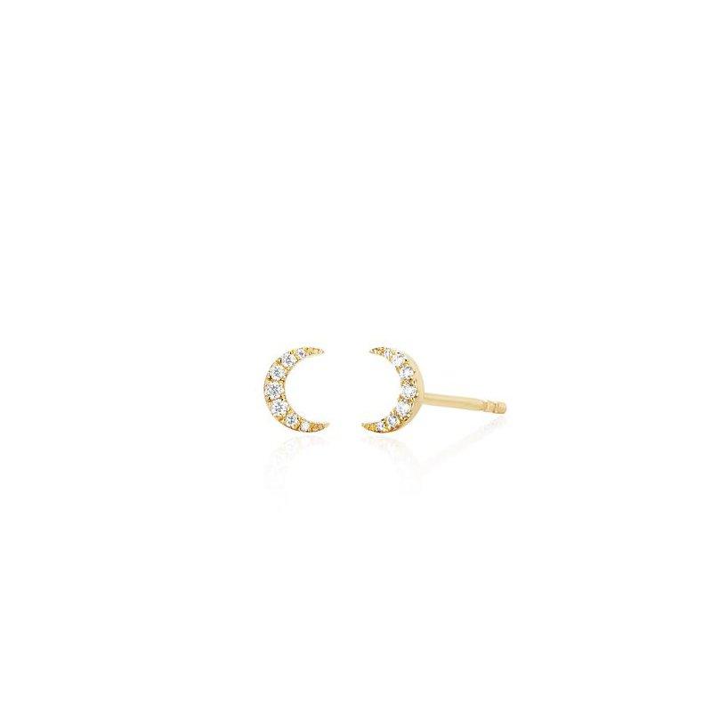 EF Collection Diamond Mini Moon Stud Earring