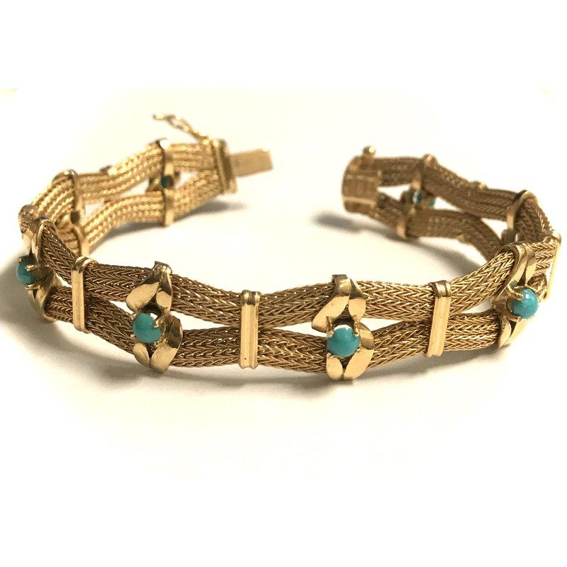 Antique, Estate & Consignment 18k Mesh Bracelet with Turquoise