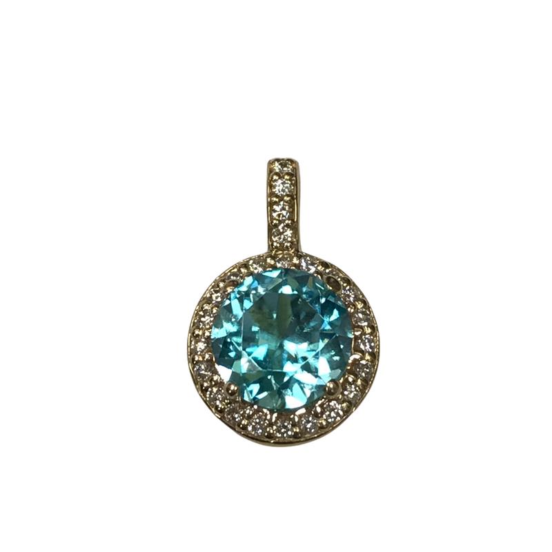 Hurdle's Jewelry Collection Blue Zircon & Diamond Pendant