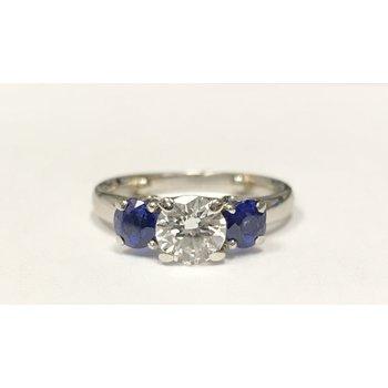 Diamond & Sapphire 3 Stone Ring