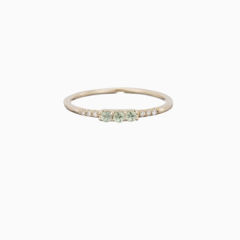 Jennie Kwon 3 Green Sapphire Equilibrium Ring
