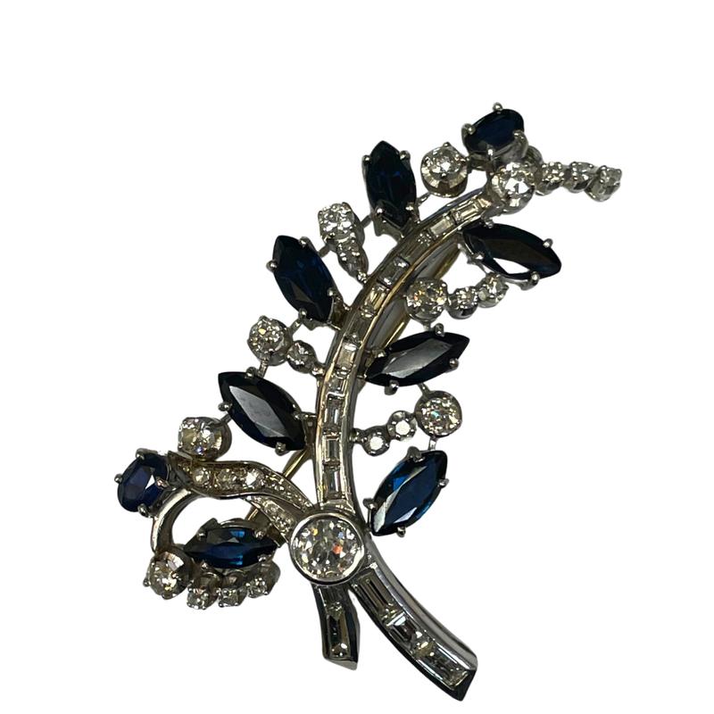 Antique, Estate & Consignment Platinum Diamond & Sapphire Leaf Pin