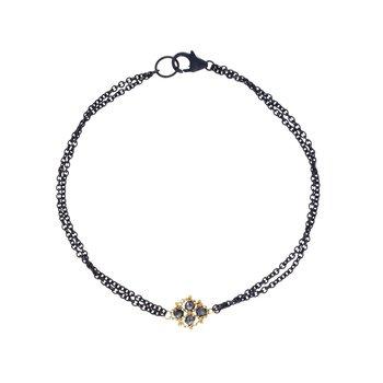Woven Black Diamond Station Bracelet