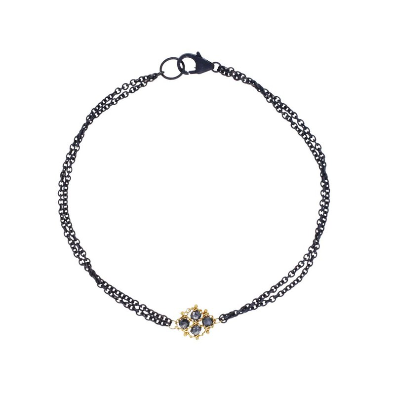 Amali Woven Black Diamond Station Bracelet