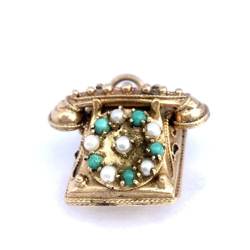 Antique, Estate & Consignment Turquoise, Pearl & Coral Vintage Phone Charm