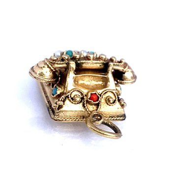 Turquoise, Pearl & Coral Vintage Phone Charm