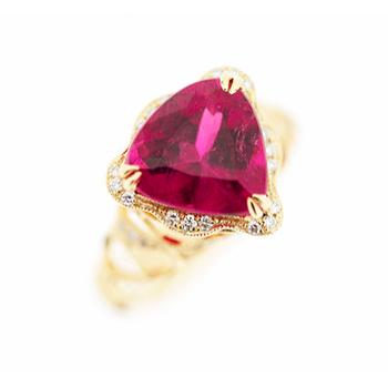 Pink Tourmaline Gold Ring
