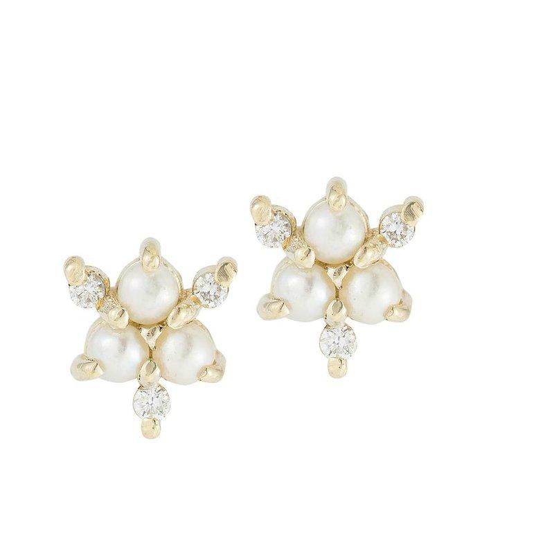 Jennie Kwon Pearl Diamond Snowflake Stud Earrings