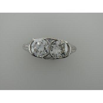 Platinum Hand Engraved Diamond Ring