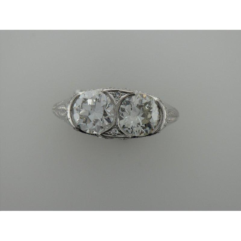 Antique, Estate & Consignment Platinum Hand Engraved Diamond Ring