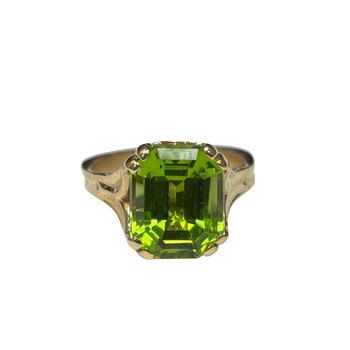 Peridot & Yellow Gold Hand Carved Ring