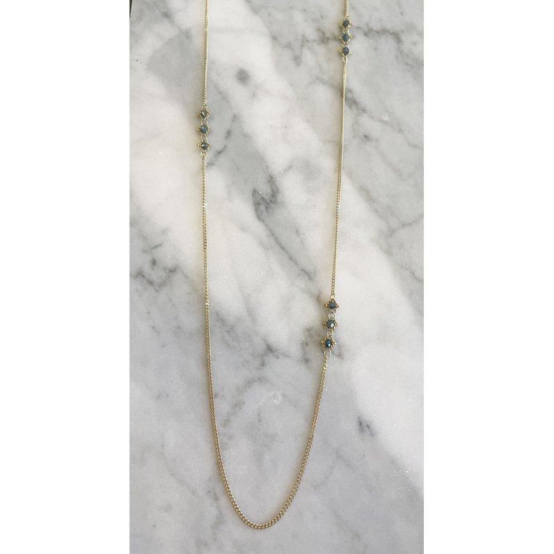 Amali Blue Diamond Triple Textile Station Necklace
