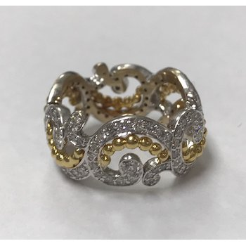 Wide Diamond Swirl Ring