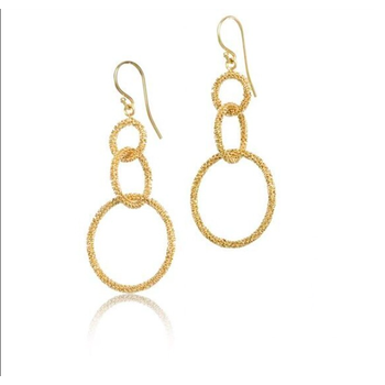 Triple Circle Stardust Chain Earrings