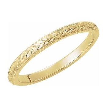 Engraved 14k Yellow Gold Wedding Band