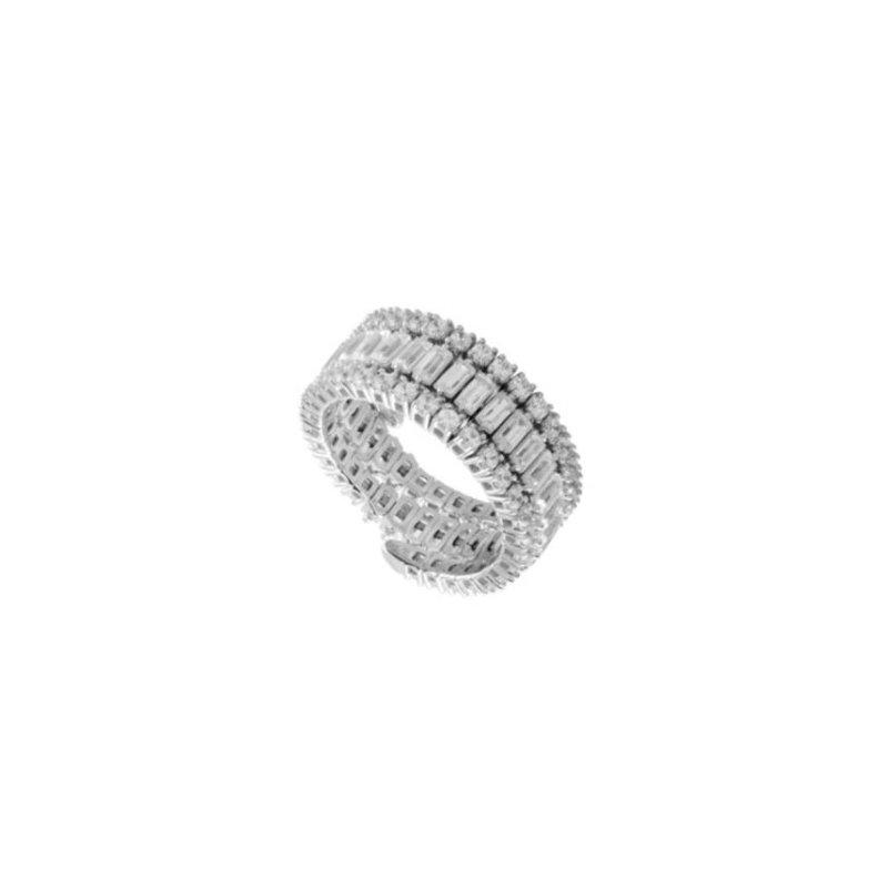 IDD Jewelry Flexible 3 Row Diamond Ring