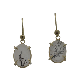 One of a Kind Dendritic Quartz Earrings