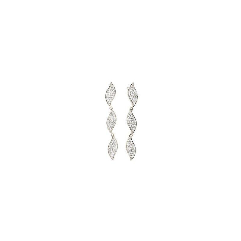 Facet Barcelona Triple Leaf Drop Diamond Earrings