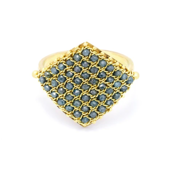 Textile Ring in Blue Diamond