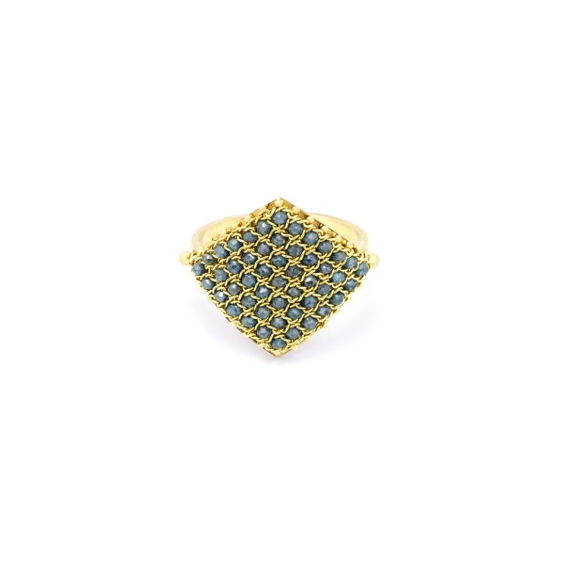 Amali Textile Ring in Blue Diamond