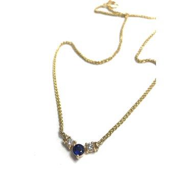 Diamond & Sapphire 3 Stone Necklace