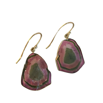 One of a Kind Watermelon Tourmaline Slice Earrings